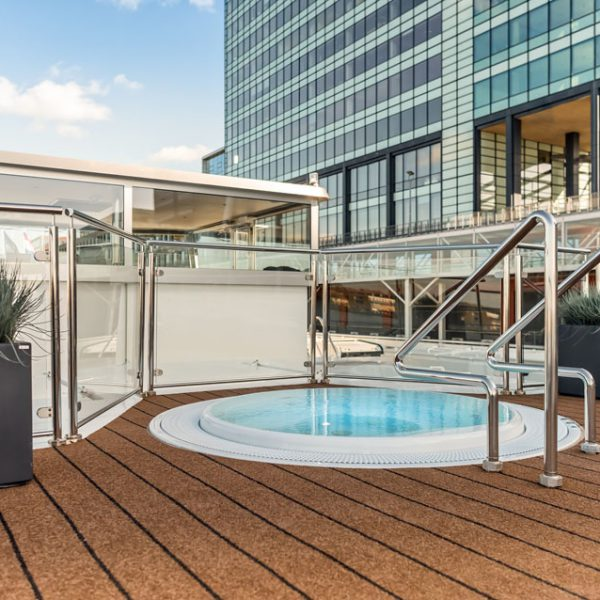 The sundeck of a hotelship.