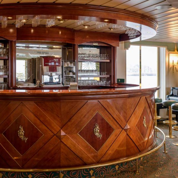 The bar of a hotelship